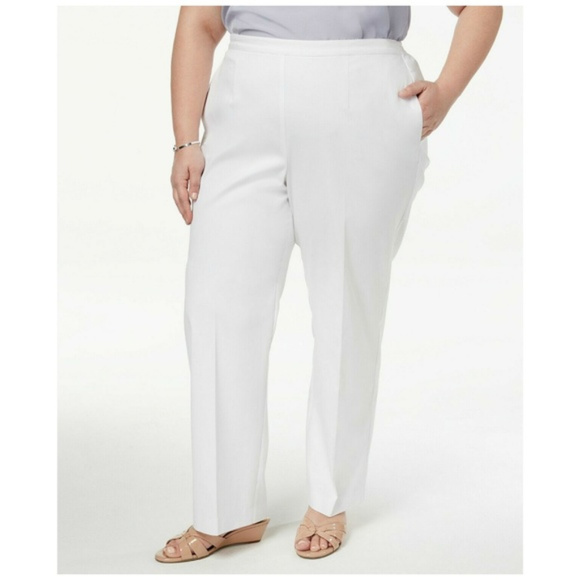 Alfred Dunner Straight Leg Pants Plus Size White NWT